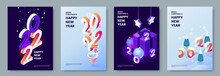 Happy New Year 2022 Posters Collection In Isometric Style. Greeting Card Template With Isometric Graphics And Typography. Creative Concept For Banner, Flyer, Cover, Social Media. Vector Illustration.