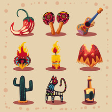 Celebration Mexican Day Of The Dead Icons