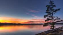 Sunset Over Lake Lelang In West Sweden