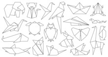 Origami Line Animals. Paper Geometric Graphic Logo And Icon Bird, Fox, Crane, Mouse, Shark And Elephant. Outline Abstract Animal Vector Set