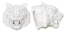 Wireframe Low Poly Tiger Head In Profile And Full Face, 3d Render
