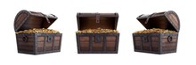 Open Treasure Chest Overflowing With Gold Coins. Open Treasure Chest Full Of Gold Coins.