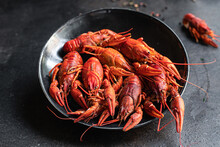 Crayfish Fresh Boiled Seafood Crustaceans Ready To Eat Meal Snack On The Table Copy Space Food Background Rustic Pescetarian Diet