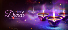 Realistic Poster Of Happy Diwali Holiday With Glowing Diya Candles On Purple Background. Traditional Hindu Festival With Floral Mandala. Indian Religious Celebration With Burning Lamps, Rangoli Design