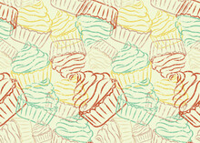 Seamless Pattern For Printing Wrapping Paper, Fabric, Kitchen Textiles. A Bright Retro-style Template With An Antique Effect (scratches). Yellow, Turquoise, Red, Beige, Brown. Vector Illustration.