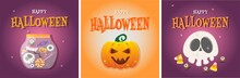 Halloween Banner Vector Set. Set Of Colorful And Trendy Halloween Banners. Flat Cartoon Style.