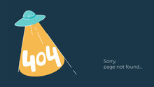 Internet Connection Problem Concept Illustration. 404 Error Page Not Found Isolated On Black Background. Funny Flying Saucer With Light.
