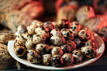 Quail Eggs In A Plate On The Background Of Quails.