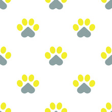 Paws Of A Cat, Dog Or Puppy On A White Background. Seamless Cute Pattern For Fabrics, Decorative Pillows. For Pet Shops And Veterinary Clinics. The Trend Colors Of 2021 Are Yellow And Gray. Vector.