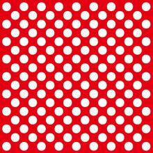 White Polka Dot Background On Red Background, Polka Dot Background, White Dot Pattern On Red Background.