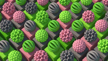 Group Of Pink, Green, Gray Abstract Spheres. Colorful Illustration, 3d Render.