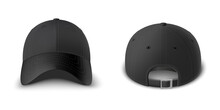 Black Baseball Cap Set Front And Back View Realistic Vector Template.