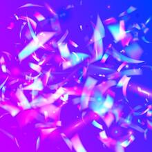 Hologram Sparkles. Party Design. Modern Art. Flying Foil. Iridescent Texture. Retro Prismatic Gradient. Transparent Confetti. Pink Shiny Glitter. Purple Hologram Sparkles