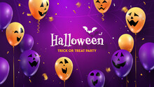 Halloween Happy Party Scary, Fun, Creepy Faces On Balloons 3d Vector Illustration. Trick Or Treat Text