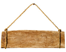 Wooden Sign Hanging From A Rusty Nail