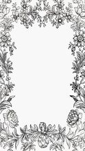 Vintage Bw Floral Frame File, Remixed From Public Domain Collection
