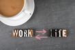 Work Life koncept. Text and coffee mug on a dark board