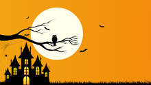 Happy Halloween Template And Background With Copyspace, Design With The Castle, Owl Holding On Tree Branch, Bat, Web Spider And Full Moon On Orange Color Background, Vector Illustration