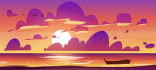 Sea Or Ocean Beach With Wooden Boat At Sunset. Vector Cartoon Illustration Of Evening Seascape With Sand Shore, Boat On Water, Sun, Clouds And Birds In Orange And Pink Sky