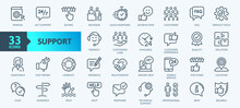 Customer Service And Support - Outline Icon Collection. Thin Line Set Contains Such Icons As Online Help, Helpdesk, Quick Response, Feedback And More. Simple Web Icons Set.