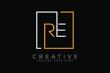 Initial letter re, er, r, e elegant and luxury Initial with Rectangular frame minimal monogram logo design vector template