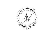 Initial Letter Ax, Xa, X, A Handwritten Logo With Sparkling Circles With Decorative Bohemian Boho Frame Vector
