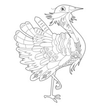 Contour Linear Illustration For Coloring Book With Decorative Pretty Bird. Beautiful Cute Bird,  Anti Stress Picture. Line Art Design For Adult Or Kids  In Zen-tangle Style, Tatoo And Coloring Page.