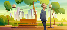 Man Walk In City Park Enjoy Nature, Relaxed Male Character Breath Fresh Air During Unhurried Promenade At Summer Urban Garden With Bench, City Lamps And Cityscape View Cartoon Vector Illustration