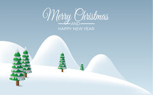 Winter Landscape Background, Rounded Mountains With Fir Trees Under Snowfall. Vector Illustration For Christmas With Copy Space. Card And Greeting