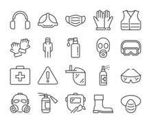Protection Equipment Icon. Personal Protection Equipment Line Icons Set. Editable Stroke.