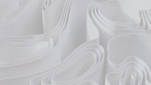 White 3D Waves Ripple To Make A Light Abstract Background. 3D Render.