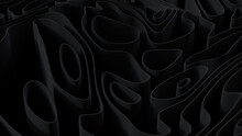 Abstract Wallpaper Formed From Black 3D Undulating Lines. Dark 3D Render.