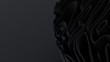 Black 3D Waves Arranged To Create A Dark Abstract Wallpaper. 3D Render With Copy-space.