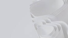 White 3D Ribbons Ripple To Make A Light Abstract Wallpaper. 3D Render With Copy-space.
