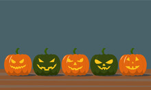 Pumpkin Jack In A Row With Scary Faces. Halloween Pumpkins Are In A Row