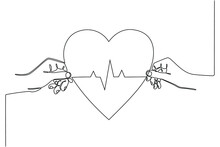 Continuous Line Drawing Hand Holding Heart With Ecg Line Health Concept Vector Illustration