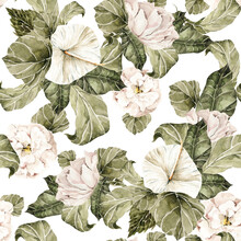 Watercolor Floral Seamless Pattern. Hand Painted Ranunculus, Pink Peonies Bouquet. Flower, Leaves Isolated On White Background. Botanical Illustration For Textile, Print, Digital Paper