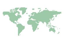 シンプルなデザインの世界地図のベクターイラスト