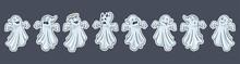 Cute Ghosts Border. Cartoon Style. Hand Drawn Halloween Funny Spooks Border. Premium Vector