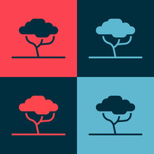 Pop Art African Tree Icon Isolated On Color Background. Baobab, Acacia And Other. Vector