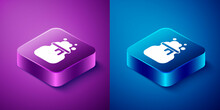 Isometric Witch Cauldron Icon Isolated On Blue And Purple Background. Happy Halloween Party. Square Button. Vector