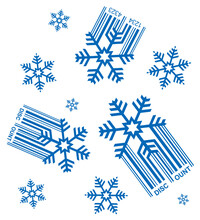 Snowfall Of Discounts, Decoratice Background. Illustration Of Snowflakes With Ean Code Symbolizing Falling Prices. Vector Available.