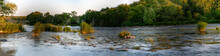 Panorama Shallow Fast River With Rocky Bottom, Ariver Overgrown With Reeds And Aquatic Vegetation, Big Green Trees On Bank