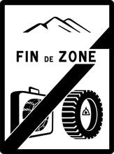 Panneau Routier En France : Panneau Routier En France : B59 - Chaînes à Neige Ou Pneu Neige Obligatoires - Fin D'obligation