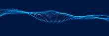 Dynamic Blue Dot Landscape. Abstract Digital Wave Background. Network Data Structure. Point Grid Visualization. Technology Vector Illustration.