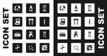 Set Broken Ancient Column, Metal Detector, History Book, Earth Globe, Dagger, Ancient Bust Sculpture, Castle Tower And Exit Sign Icon. Vector