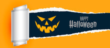 Happy Halloween Scary Background With Torn Paper Effect
