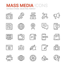 Collection Of Mass Media Related Outline Icons. 48x48 Pixel Perfect. Editable Stroke