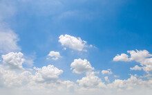 Natural Blue Sky Background With Clouds Below