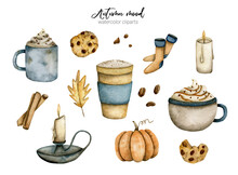 Watercolor Set With Autumn Mood With Coffee, Cookies, Candles And Socks On A White Background